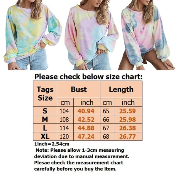 Women's loose tie-dye print gradient round neck pullover top Yellow,S