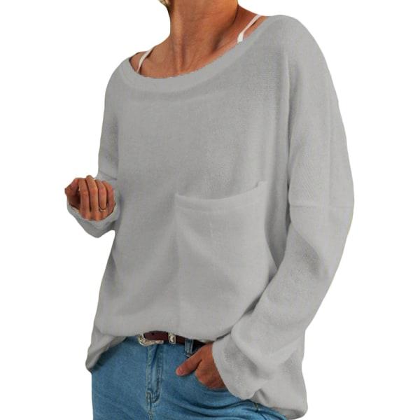 Women's loose top plain sweatshirt T-shirt plus size Gray,5XL