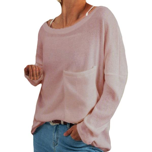 Women's loose top plain sweatshirt T-shirt plus size Pink,5XL