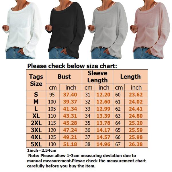 Women's loose top plain sweatshirt T-shirt plus size White,XL