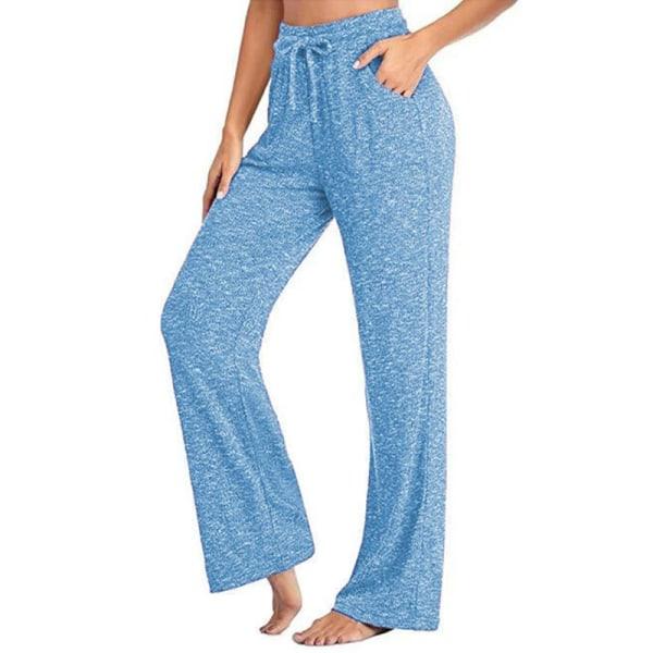 Women's loose Yoga Dance Pants jogging pants sports pants Light Blue,L