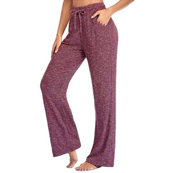 Women's loose Yoga Dance Pants jogging pants sports pants Wine Red,L