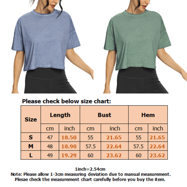 Women's Loose Yoga Tops Round Neck Short Sleeve Gym T-Shirt Tops Blue,M