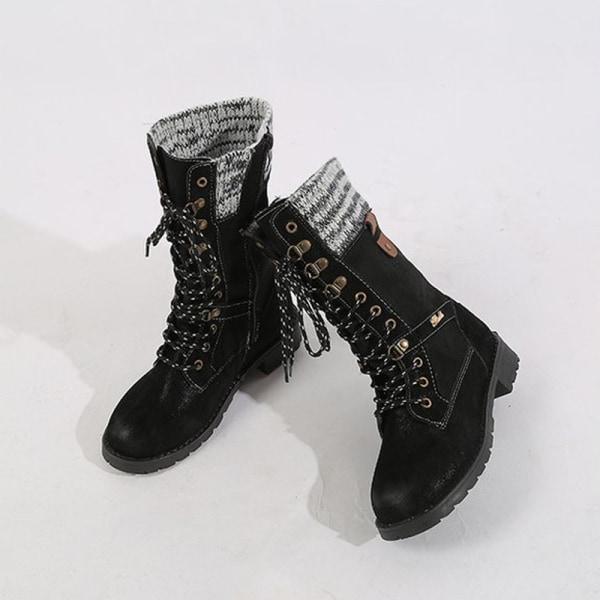 Women's Low Heel Mid-Calf Booties Casual Round Toe Warm Shoes Black,35