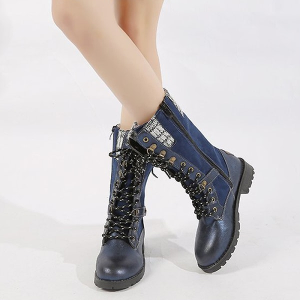 Women's Low Heel Mid-Calf Booties Casual Round Toe Warm Shoes Blue,39
