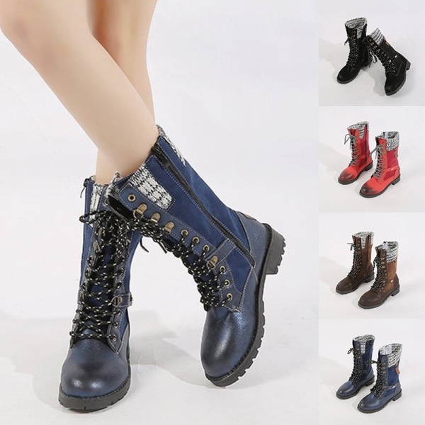 Women's Low Heel Mid-Calf Booties Casual Round Toe Warm Shoes Blue,41