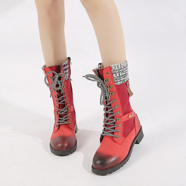 Women's Low Heel Mid-Calf Booties Casual Round Toe Warm Shoes Red,42
