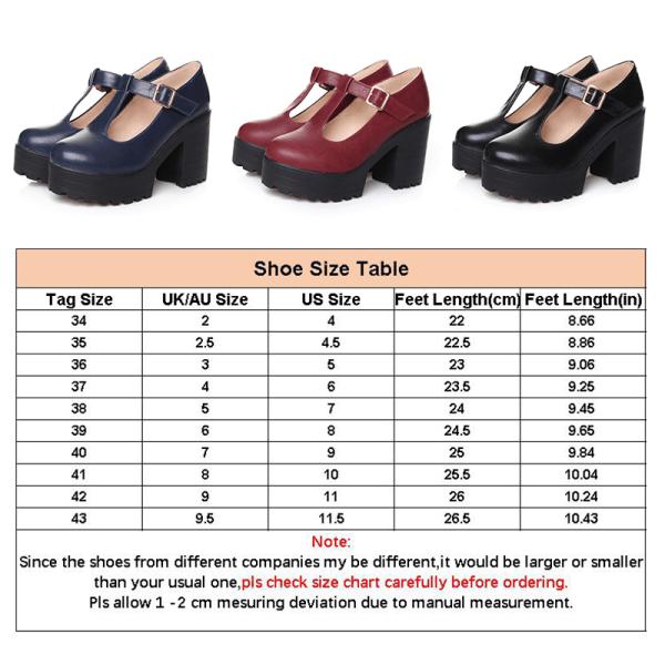 Women's Mary Jane School Shoes Platform High Heels Ankle Strap Black,40