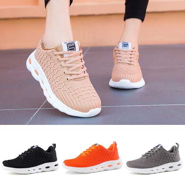 Women's mesh running shoes socks breathable sports casual shoes Gray,38