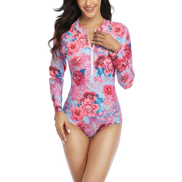 Women's Parent-Child Beach Wear Leaf Print Bathing Suit Swimsuit Pink,XL