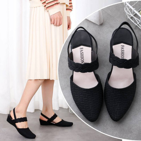Women's Pattern Wedge Sandals High Heels Pointed Toe Shoes Black,37