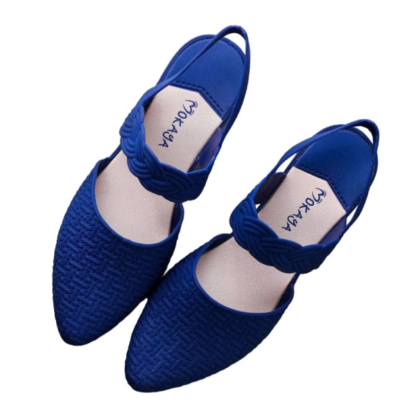 Women's Pattern Wedge Sandals High Heels Pointed Toe Shoes Blue,36
