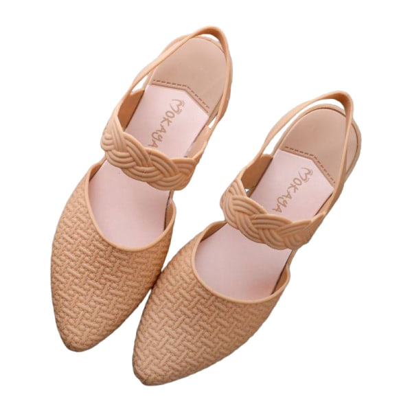 Women's Pattern Wedge Sandals High Heels Pointed Toe Shoes Khaki,37