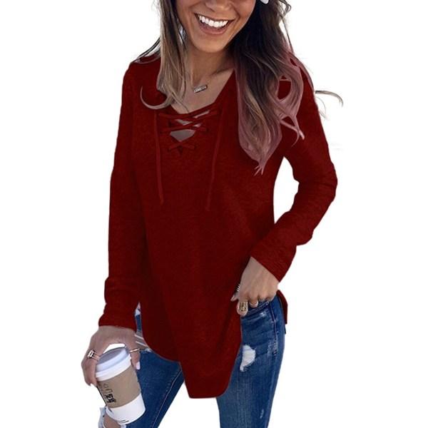 Women's plain casual sweatshirt loose long sleeve V-neck top Red wine,S