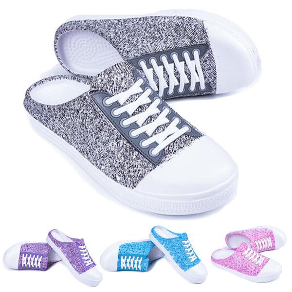 Women's Platform Sandals Mules Summer Beach Printed Slippers Gray,38