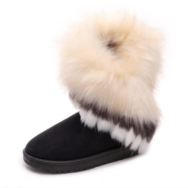 Women's Platform Warm Suede Faux Fox Fur Snow Mid Calf Boots Black,40