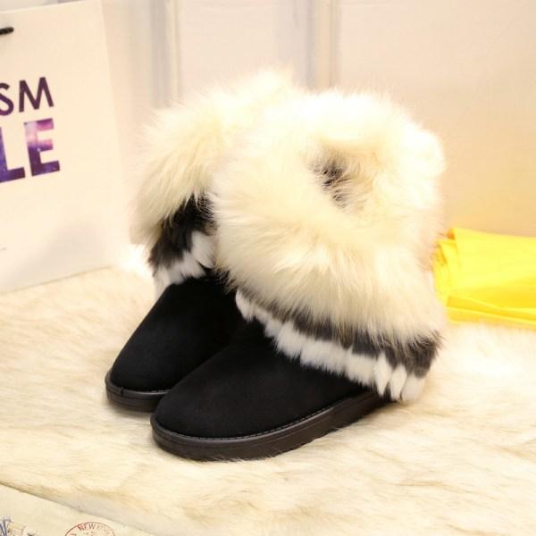 Women's Platform Warm Suede Faux Fox Fur Snow Mid Calf Boots Black,36