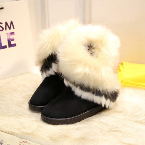 Women's Platform Warm Suede Faux Fox Fur Snow Mid Calf Boots Black,41