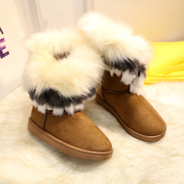 Women's Platform Warm Suede Faux Fox Fur Snow Mid Calf Boots Brown,42
