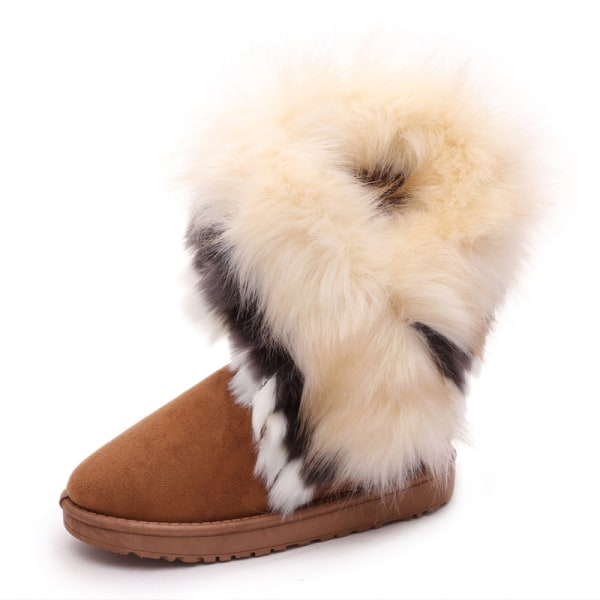 Women's Platform Warm Suede Faux Fox Fur Snow Mid Calf Boots Brown,36
