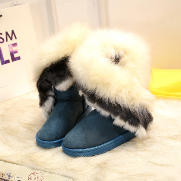 Women's Platform Warm Suede Faux Fox Fur Snow Mid Calf Boots Green,36