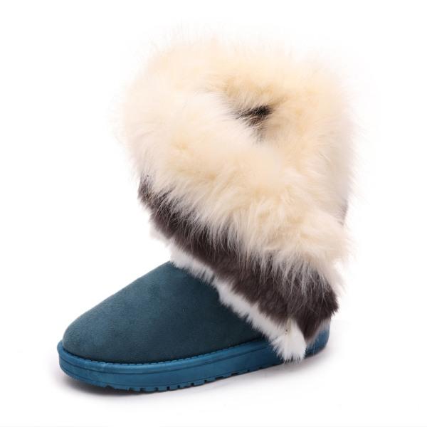 Women's Platform Warm Suede Faux Fox Fur Snow Mid Calf Boots Green,42