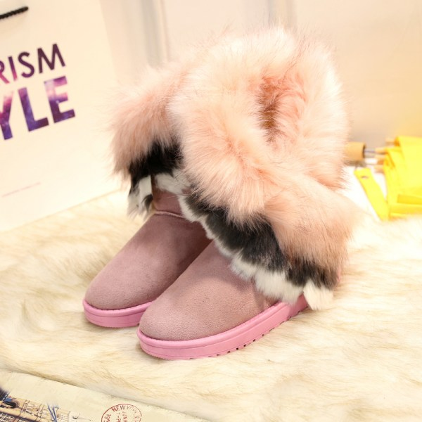 Women's Platform Warm Suede Faux Fox Fur Snow Mid Calf Boots Pink,38