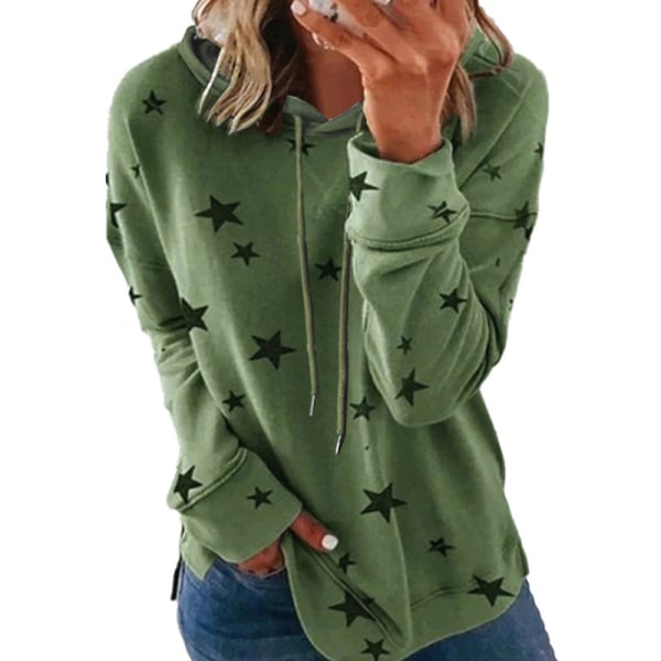 Women's Plus Size Casual Sweatshirt Pullover Hooded T-shirt Top Green,L