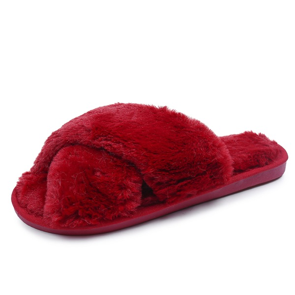 Women's Plush Slippers Flat Shoes Mules Indoor Footwear Open Toe Claret,36-37