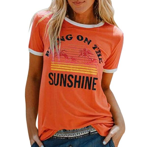 Women's Printed Top Short Sleeve Casual T-shirt Loose Top Cover Orange,M