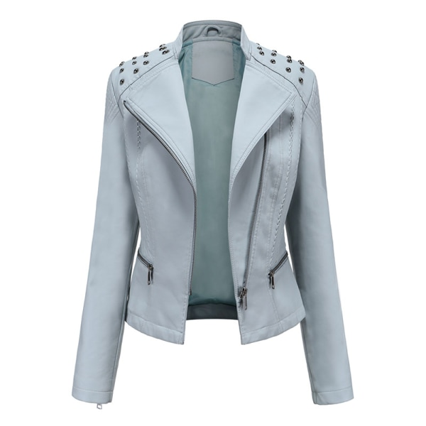 Women's PU Leather Jacket Motorcycle Short Coat Top Blue,XL