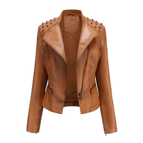 Women's PU Leather Jacket Motorcycle Short Coat Top Camel,XL