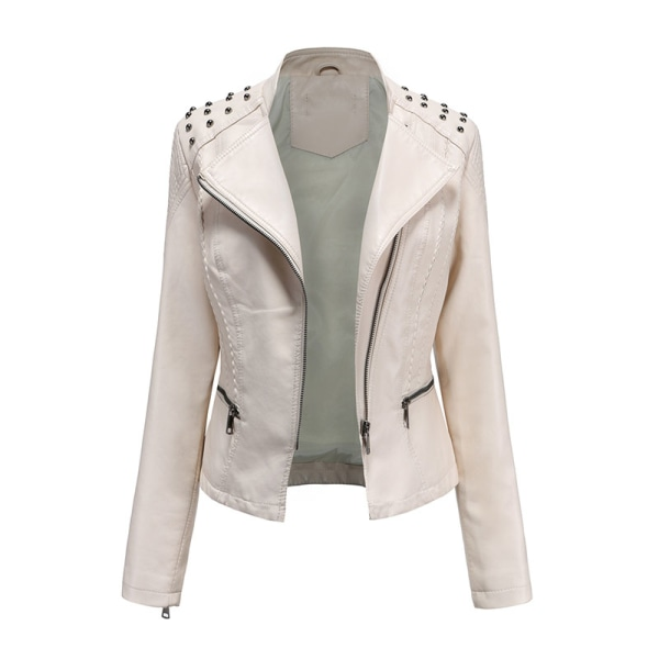 Women's PU Leather Jacket Motorcycle Short Coat Top off white,S