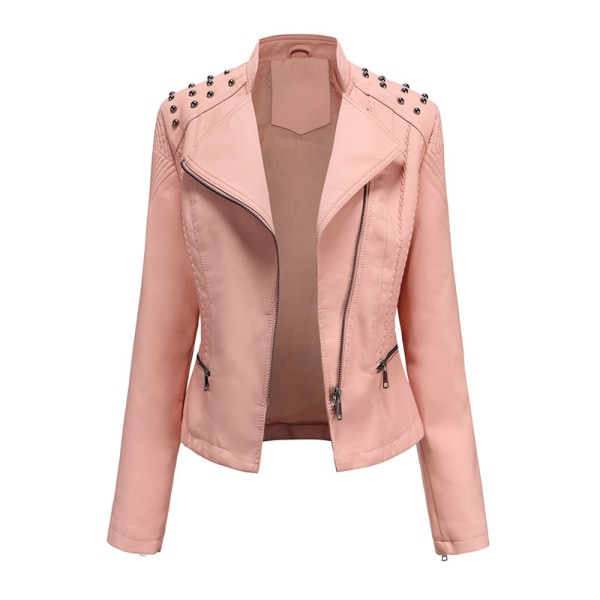 Women's PU Leather Jacket Motorcycle Short Coat Top Pink,XL