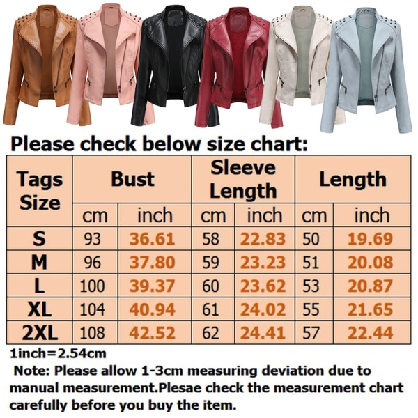 Women's PU Leather Jacket Motorcycle Short Coat Top Red,S