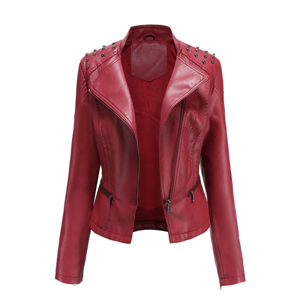 Women's PU Leather Jacket Motorcycle Short Coat Top Red,XXL