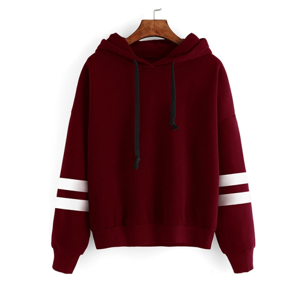 Women's pullover loose hooded sweatshirt top claret,XL
