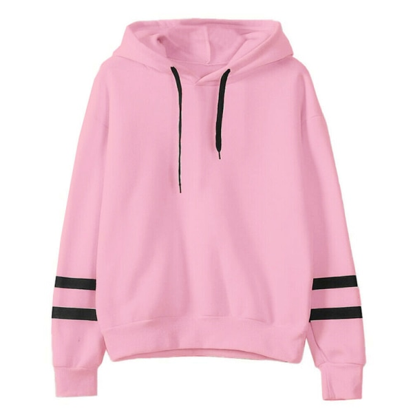 Women's pullover loose hooded sweatshirt top Pink,M