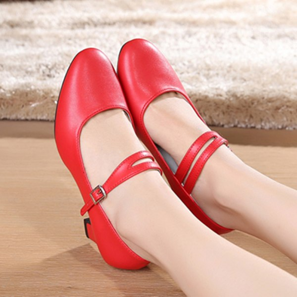 Women's Pumps Chunky Block Mid Heels Round Toe Party Dance Shoes Red,35