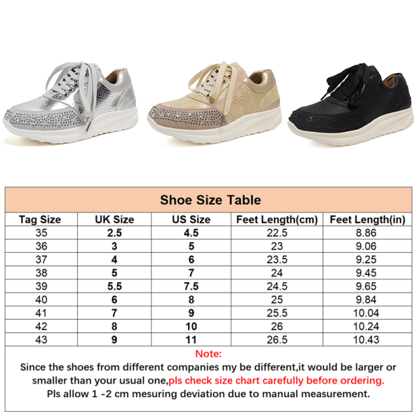 Women's Rhinestone Sneakers Trainers Wedge Casual Shoes Lace Up Silver,36
