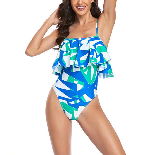 Women's Ruffle One-Piece Monokinis Swimwear Swimsuit Backless Blue,L
