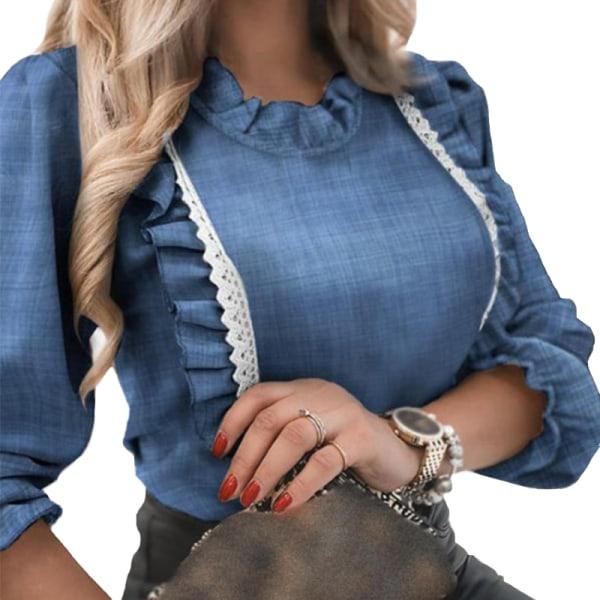 Women's Ruffle Pullover Top Casual long bubble sleeve shirt Denim blue,M