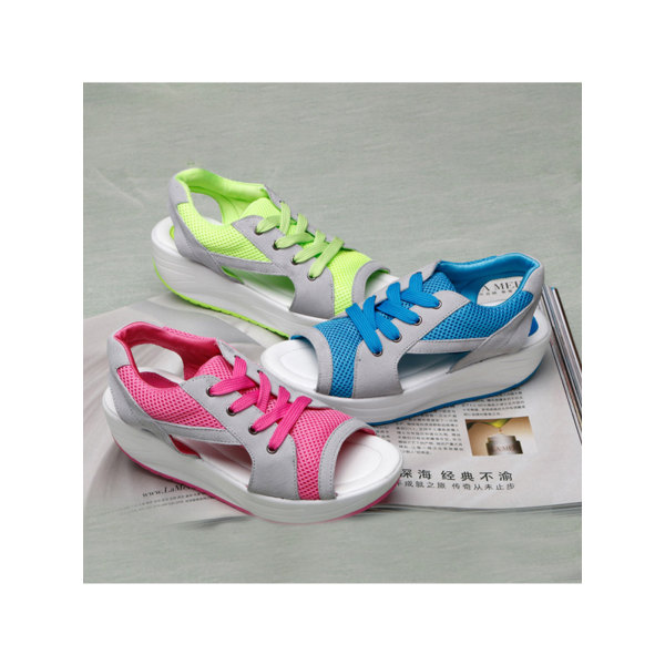 Women's sandals open toe breathable shoes lace-up sneakers blue,36