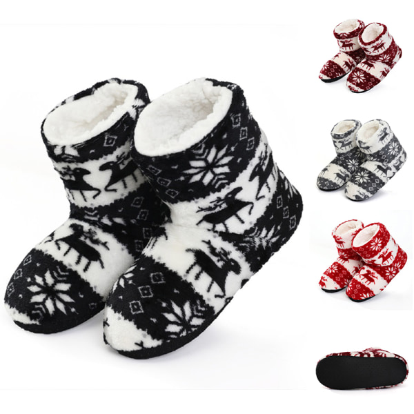 Women's Slippers Coral fleece Fur Ankle Boots Warm Indoor Shoes Red,39-41