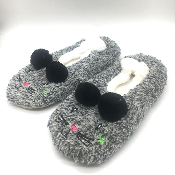Women's Slippers Mouse Printed Warm Flat Casual Shoes Anti-Slip Gray,35-38