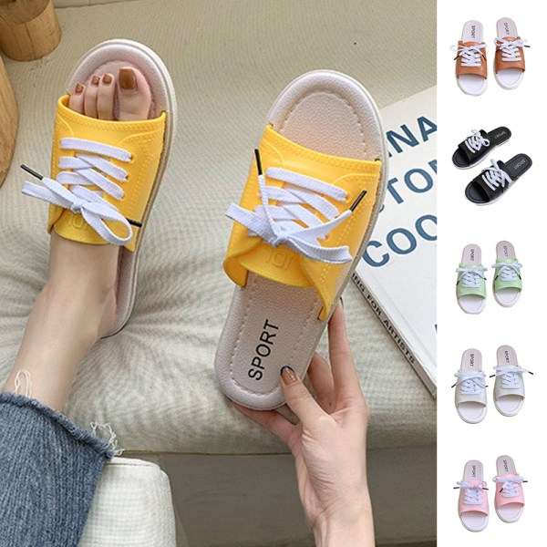 Women's slippers open toe flat shoes light lace up beach shoes Pink,36