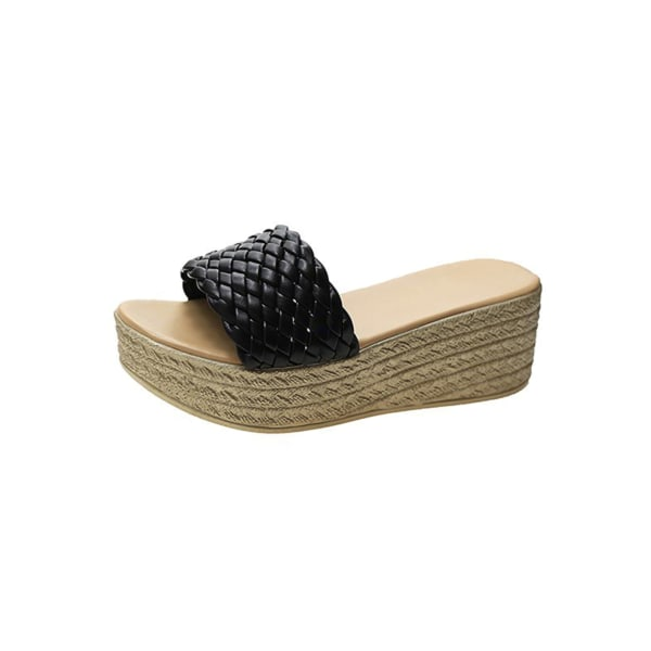 Women's Slippers Open Toe Sandals Platform High Heels Mules black,38