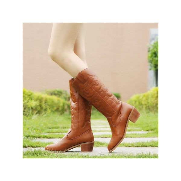 Women's Snow Mid Calf Boots Thick Heel Casual Shoes Lightweight Khaki,40