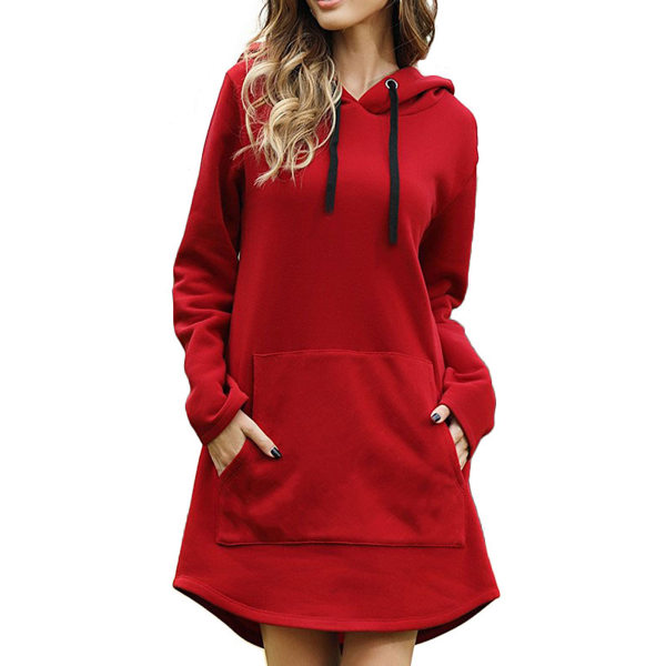 Women's solid color hooded sweatshirt casual sweater dress Red,L