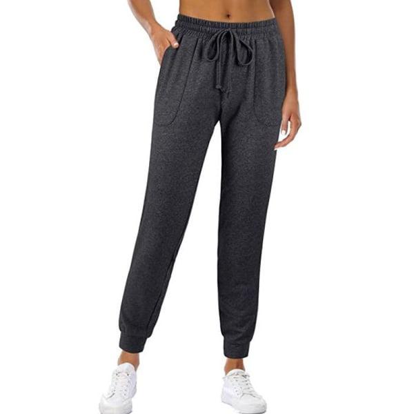 Women's solid elastic casual pants and drawstring jogging pants Dark gray,M